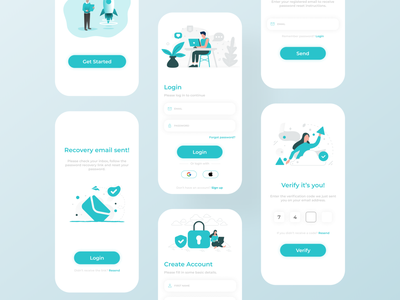 Authentication Designs illustration design mobile app design ios app development ios app design futuristic design android app development android app design ui design uiux ui