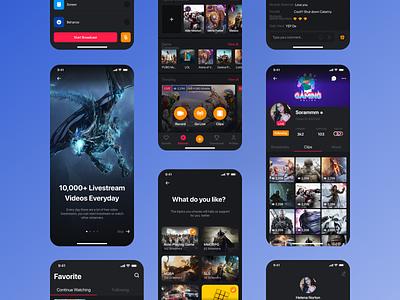 Games - Live Streaming App futuristic designs product designs mobile app designs ux design ui design ux ui