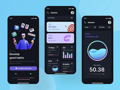 Habit Tracking App high quality designs modern designs product design mobile app designs ux designs ui designs ux ui