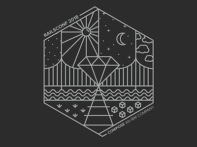 Compose RailsConf T-Shirt Design conference pittsburgh bridge railroad gem geometric line t-shirt shirt ruby rails compose