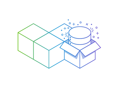 You're almost ready to unbox some magic... isometric line magic database illustration