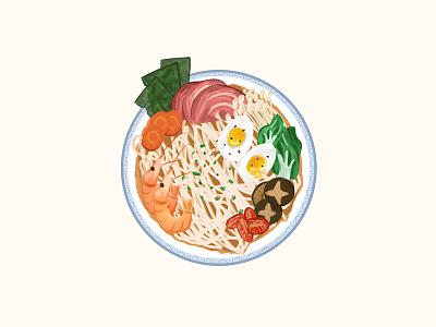 ramen delicious noodles dinner snacks foods cartoon design illustration