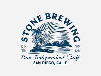 Stone Brewing Oasis badge palm tree oasis ocean craft beer tropical beer merchandise typography illustration design