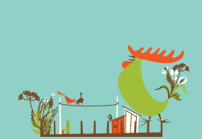 Rooftop 01 illustration rooster rooftop wildlife