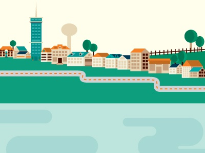Animation Slide illustration animation houses trees city scape water