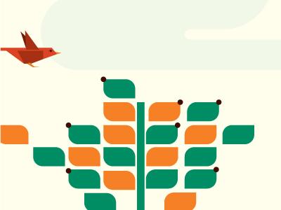 Animation Slide illustration animation bird leaves seeds