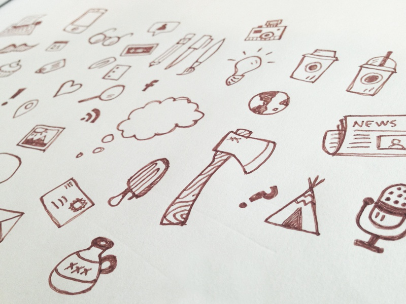 icon pattern sketch icons pattern postachio tent axe blogging evernote