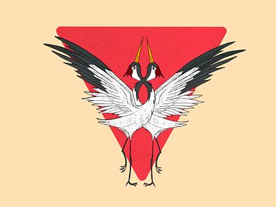 Cranes dancing cranes japanese birds abstract art illustration art illustration digital painting digital illustration design