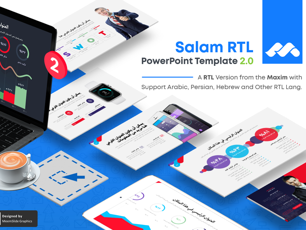 SalamRTL - Pro RTL Text PowerPoint Template rtl text hebrew persian arabic maxim creativemarket pitchdeck infographic prsentation rtl slide deck meemslide template powerpoint slide