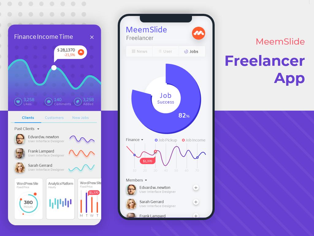 Meemslide Freelancer App UI Design free app ppt template powerpoint ppt pptx freelancer ui  ux design user interface ui  ux meemslide
