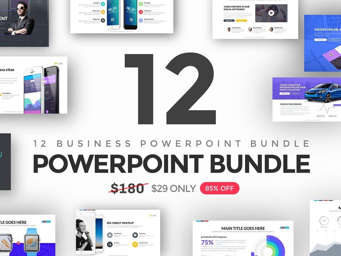 12 in 1 Business Powerpoint Bundle arabic rtl powerpoint template bundle template presentation maxim free powerpoint slide ppt creativemarket pptx powerpoint meemslide