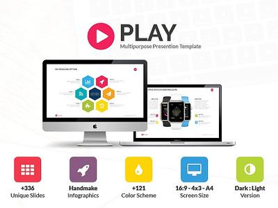 Play , Premuim Presentation Template powerpoint template presentation free powerpoint template slide ppt creativemarket pptx powerpoint meemslide