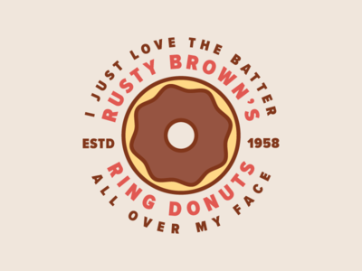 Rusty Brown's Ring Donuts grand theft auto rusty browns ring donuts illustration badge donut