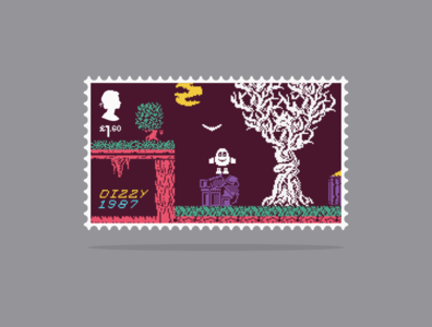 Dizzy Stamp postage stamp video game royal mail dizzy stamp illustration