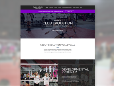 Evolution Volleyball Website design website