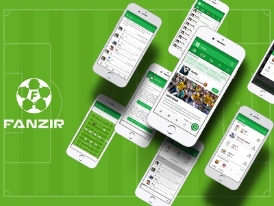 Fanzir live score formations tactics commentary taging chatting logo ux ui app football soccer
