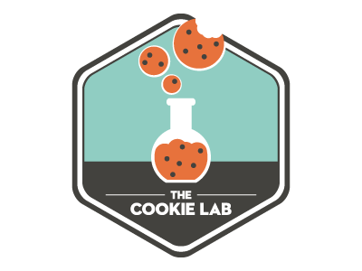 The Cookie Lab logo lab cookie bakery science neutraface