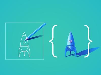Design & Develop green white blue code develop design drawing pencil illustration rocket website