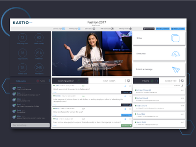 Live Streaming - Kastio team new answer questions chat blue ui ux online video live live streaming