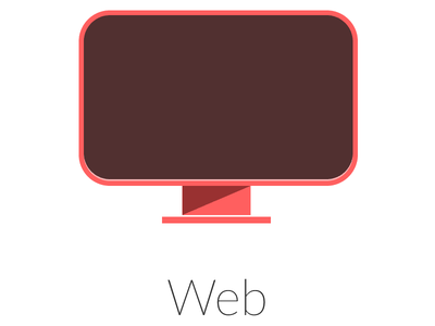 Web icon rectangle shapes red shadow monitor web icon