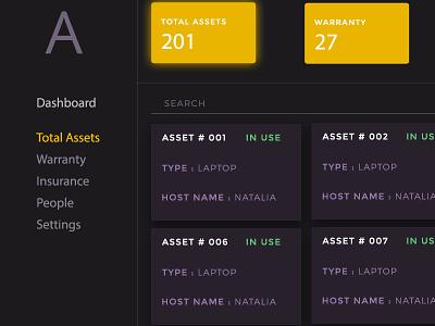 Asset Management desktop mobile laptop management asset dark design admin dashboard web ux ui