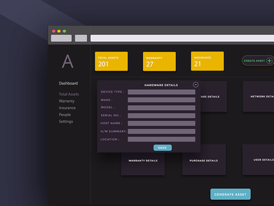 Asset Management warranty generate numbers dark yellow create management asset dashboard ux ui web