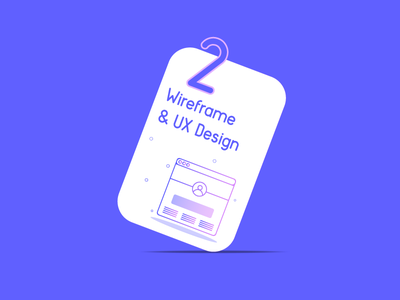 Wireframe & UX Design wireframe branding discovery number shape blue icons process work design ux ui