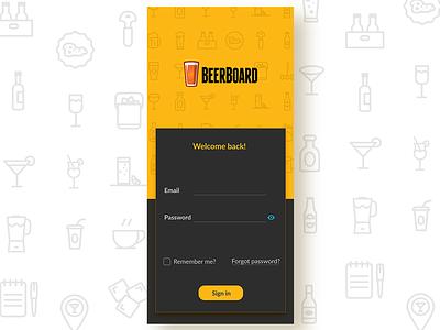 Beerboard password button grey black clean sign up sign in ux ui yellow app beer