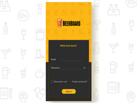 Beerboard password button grey black clean sign up sign in ux ui yellow app beer