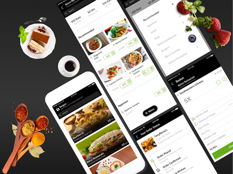 On Demand Food Delivery Apps Development singup login ux mobile app android ios iphone social media design icoderz