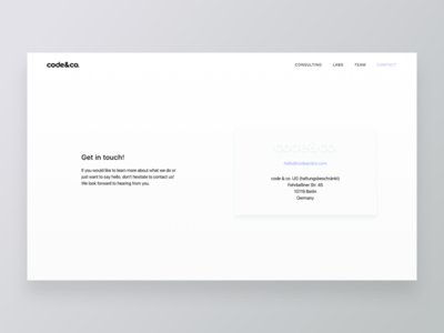 Minimal Contact Page