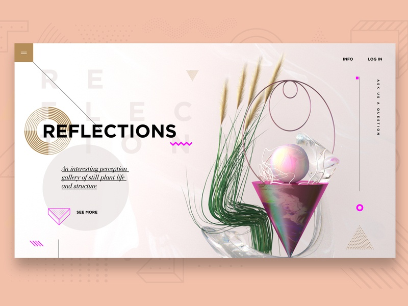 Reflections -  3D & Ui typography c4d abstract graphic design ui color design 3d