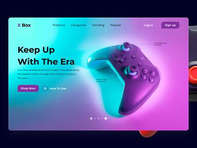 Gaming Website Design x box controler xbox game gaming design ui landing landingpage webpage website