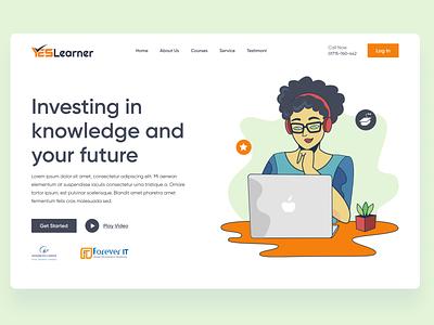 E-learning website design onlinelearning online learn learning education e-learning elearning landing uiux webpage landingpage design ui