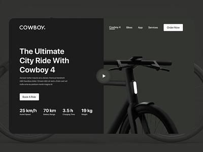 E-Bike Website Design, Cowboy bikes website bicycle cowboy bikes animation illustration branding landing uiux webpage landingpage design ui