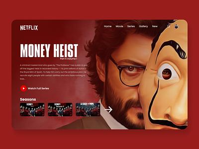 Money Heist Website Design Concept netflex 3d website product design web design productdesign print moile animation illustration branding landing uiux webpage landingpage design ui