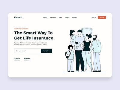 Fin-tech website lifeinsurance insuranceweb insurance finance fintech website animation branding illustration uiux webpage landingpage design ui