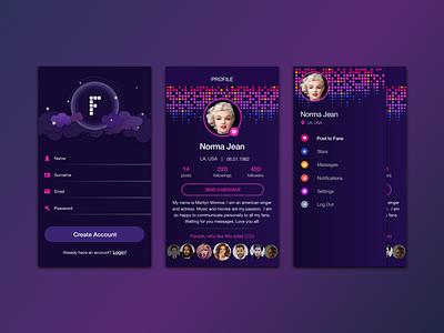 Fans & Artists celebrity purple dark profile menu login artist music social network ui app