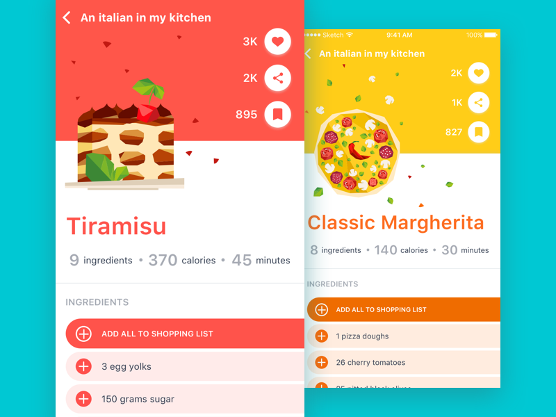 Saluto Italia bright illustration flat cook ui e-commerce product purchase food ios app
