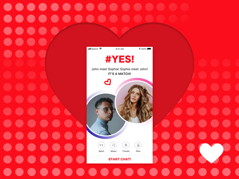 Dating App. Congratulations! It's a Match! meeting red love match dating screen dating app design social light ios app flat ui