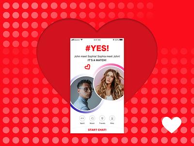 Dating App. Congratulations! It's a Match! meeting red love match dating screen dating app design social light ios app flat ui