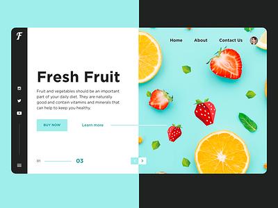 Fresh Fruit ux typography vector illustration web food design card light app flat ui