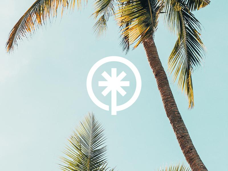 O + Palm Mark minimal simple logo designer logo identity beach wander palm tree palm logo pal beach logo brand identity logo design logo