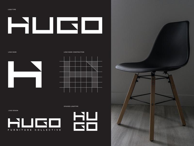 Final Hugo Lockups minimalist logo minimal modern logo furniture logo design simple brand branding brand identity logo designer logo design logotype logo