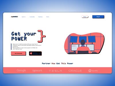 opSource websait red blue ilustration ui design websait webdesign programming code web