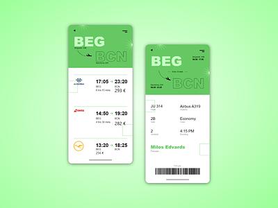 AirCo Boarding Pass app white black green design ui trending ... adobexd ticket booking boarding pass planeticket plane flight system flight airplane