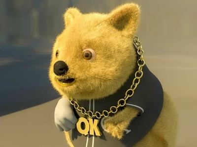 Quokka ( 3d model with textures) web app icon typography ux vector branding illustration illustraion 3d animation 3d modeling 3d