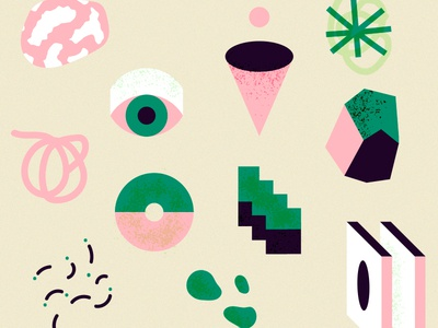 Abstract shapes pattern pattern abstract black green pink illustration vector shapes