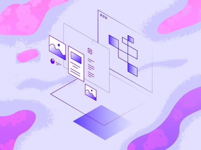 Modular Wireframes abstract vector shapes colors gradient isometry perspective app wireframes illustration