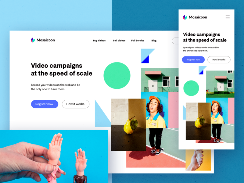 Mosaicoon for Brands mobile app landing page brand identity shapes color web design layout